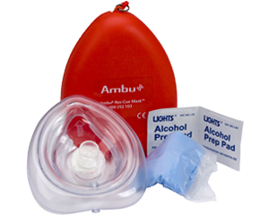 Image of Ambu CPR mask, latex gloves, and alchohol prep pad.