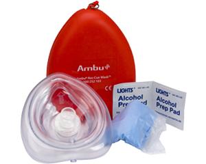 Image of Ambu CPR mask, latex gloves, and alchohol prep pad.
