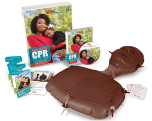 Graphic of CPR training manikin and packing displaying training CD and directions for use.