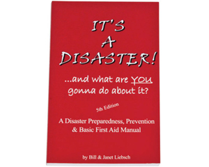Image of red disaster survival training book titles It's a Disaster, and what are you gonna do about it?