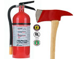 Image of a FIre Extinguisher and a Fireman's Axe to signify preparedness for fires and evacuation
