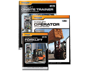 Image of mancomm forklift onsite trainer booklet and cd-rom