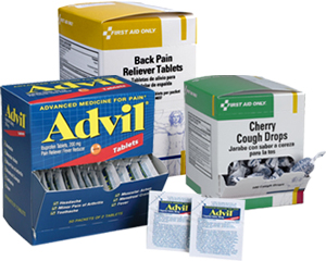 Image of advil case and mini packets, back pain reliever tablets case and mini packets and cough drops case
