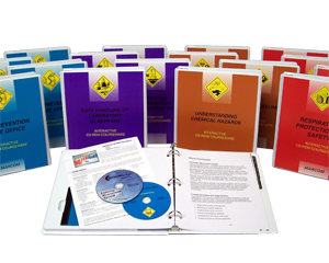 Image of variety of different osha safety training booklets, training binders and cd-roms.