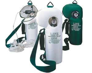Image of lightweight, with comfortable handle and shoulder strap, 40-minute oxygen supply.