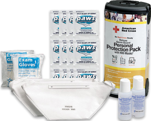 Image of an American Red Cross personal protection pack, hand sanitize bottle, exam gloves, face mask and disinfectant wipes.