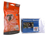 Image of a two person emergency sleeping bag and a Mylar Solar Emergency Space Blanket