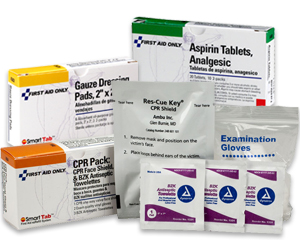 Image displaying box of aspirin tablets, box of gauze dressing pads, antiseptic towelettes, exam gloves, and cpr pack which includes a face shield,