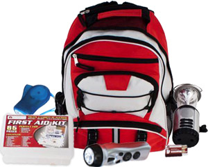 Image of winter electrical black out kit, lanter, flashlight, mini flashlight and first aid kit